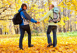 Couple in New Hampshire Fall Foliage - Hiking
