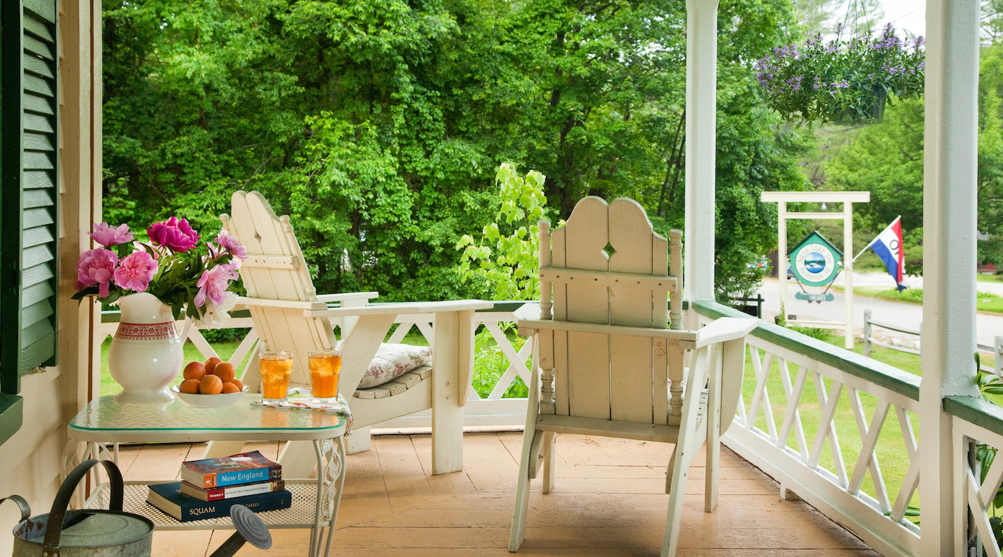 Relax on the porch in Holderness, New Hampshire