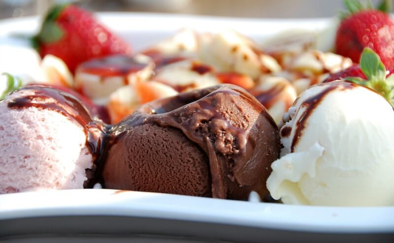 Close-up of ice cream and fruit