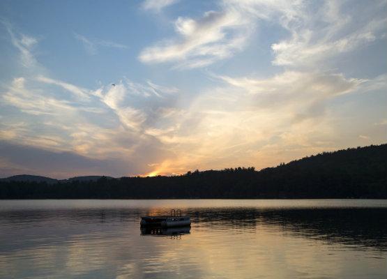 Squam Lake at Sunset with a Metal Swim Platform