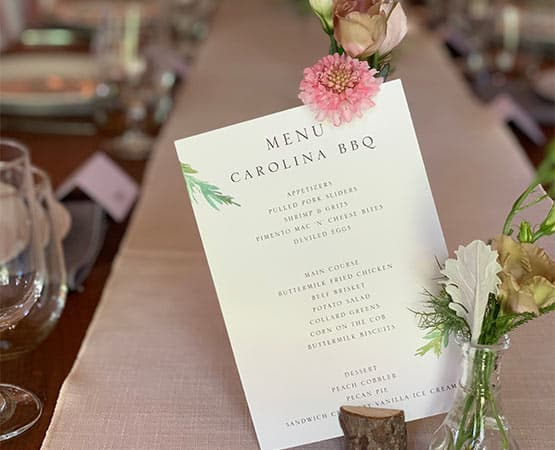 Table Setting with Menu at our NH Wedding Venue