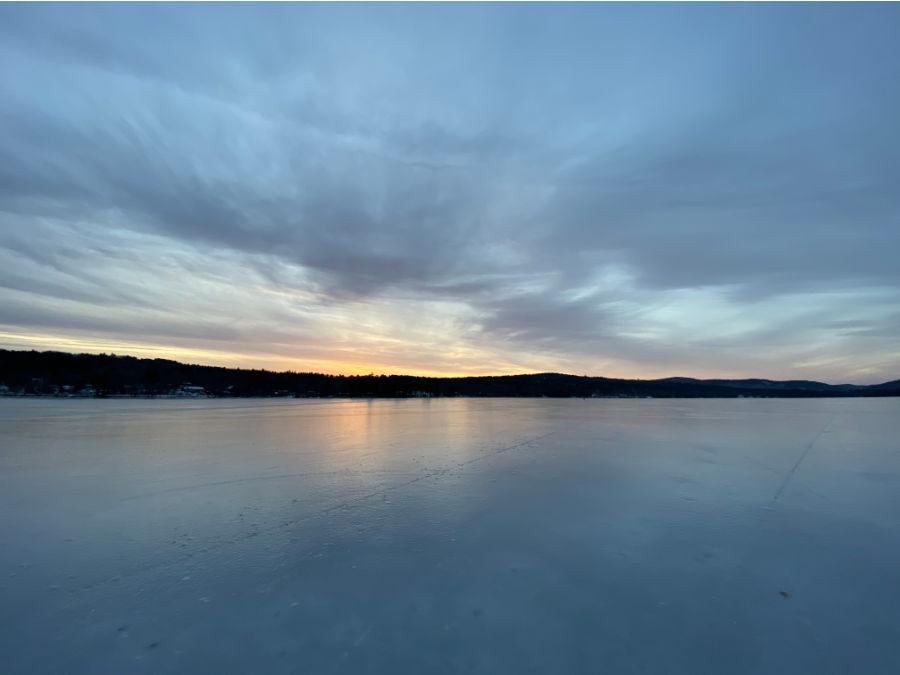 New Hampshire Lake Frozen in Winter